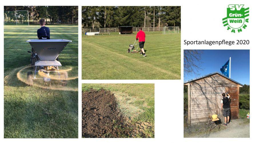 Umfangreiche Sportanlagenpflege durch unsere Vereinsmitglieder