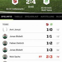 SG SV Gräfenwarth – SG SV Grün-Weiß Tanna 2:4 (1:2)